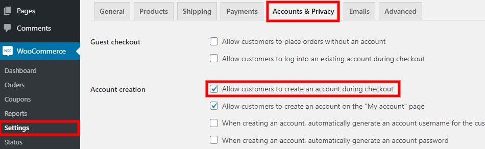 WooCommerce Account - User Registration WordPress Plugin