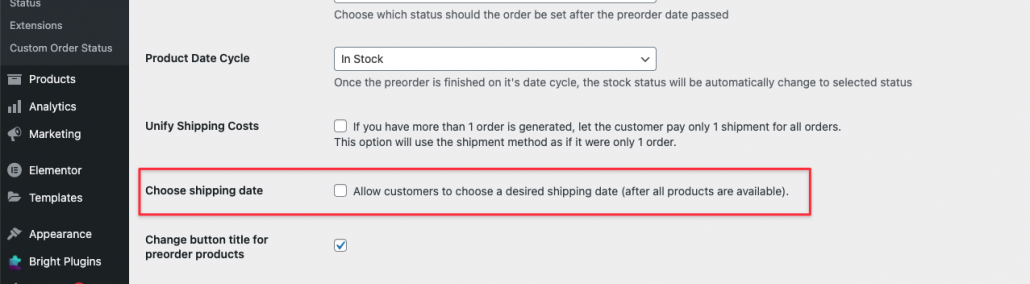 Ensure the option below under Choose Shipping Date is unchecked for Allow customer to choose desired shipping date