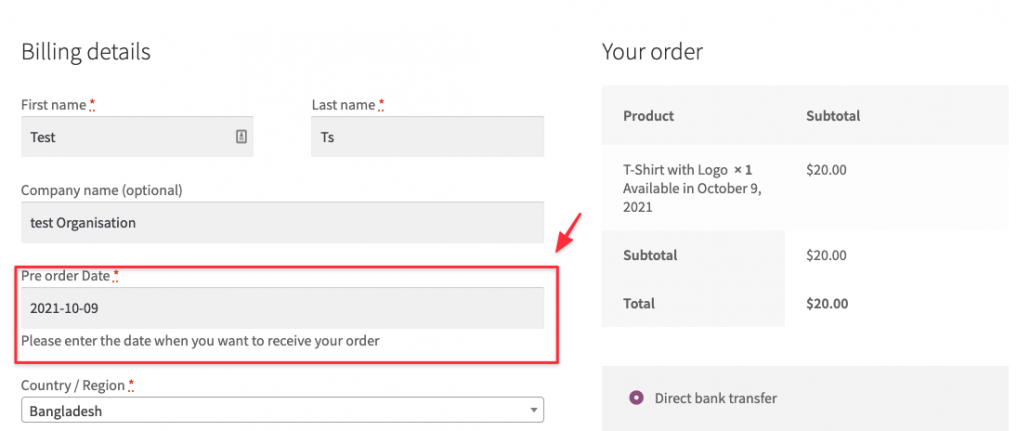 You can check the setting on the checkout page by adding to the cart your preorder product.